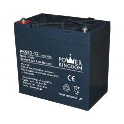 Power Kingdom 12V 55Ah Deep Cycle zselés akkumulátor